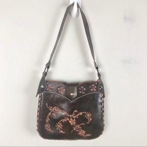 WaBags Tooled Leather Handmade Brown Shoulder bag